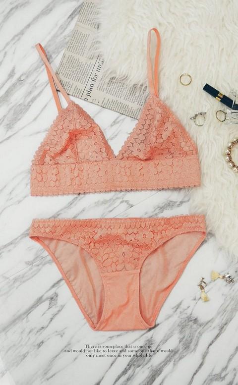 奧黛女神 法式Bralette成套內衣褲 S-XL anSubRosa - 橘色