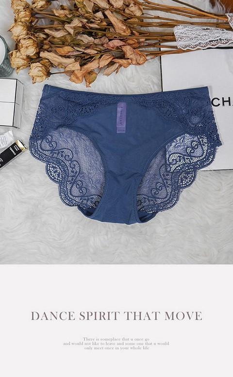 曖昧巴黎 蕾絲手工刺繡內褲 S-XL anSubRosa - 藍色