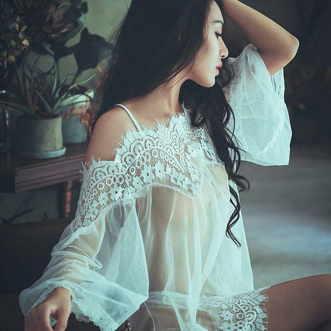 唯美迷惑 睫毛蕾絲透紗連身睡衣 FREE anSubRosa,睡衣,睡衣推薦,派對,透紗性感,睫毛蕾絲