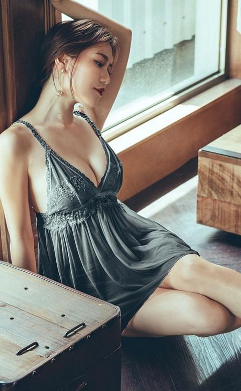 薇亞童話 蕾絲薄紗連身睡衣 FREE anSubRosa - 黑色