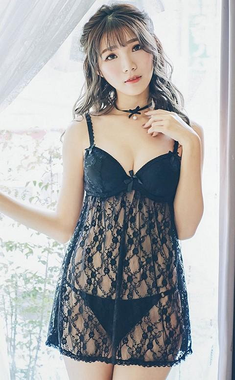 甜甜司康 圓胸罩杯蕾絲睡衣 FREE nalla - 黑色