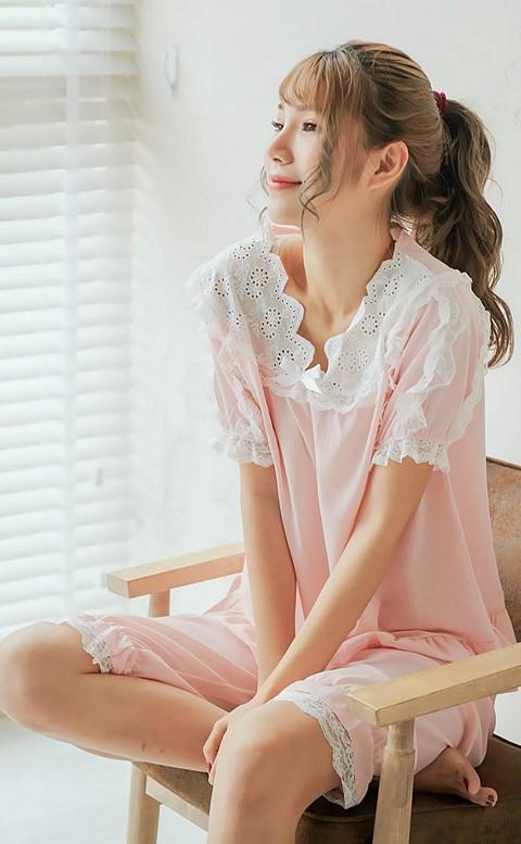 慕斯小公主 馬卡龍色蕾絲滾邊成套睡衣 M-L nalla - 粉色