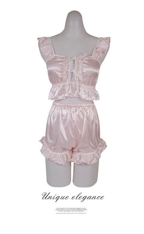 仲夏女伶 甜美荷葉緞面成套睡衣 FREE nalla - 粉色