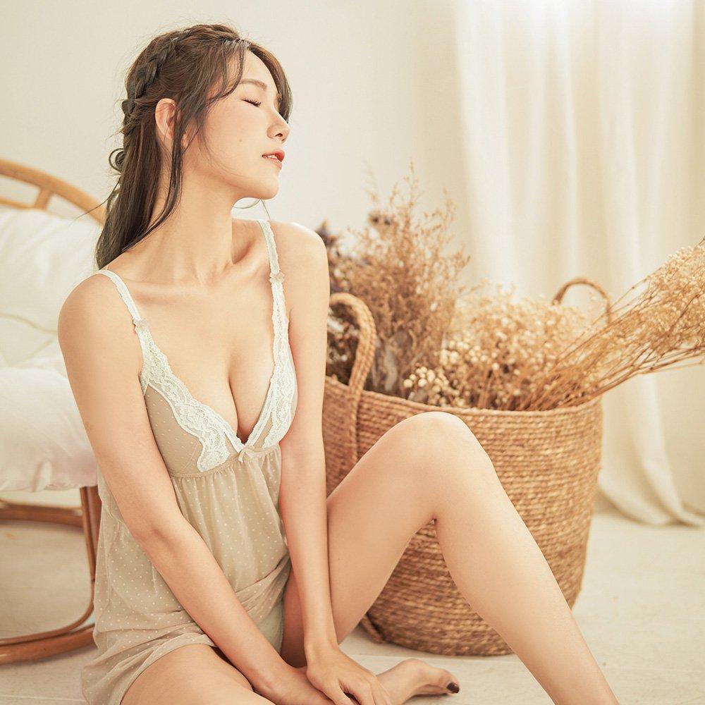 清甜絮語 透膚罩杯式連身睡衣 M-L nalla,nalla,NALLA,連身睡衣,蕾絲,網紗