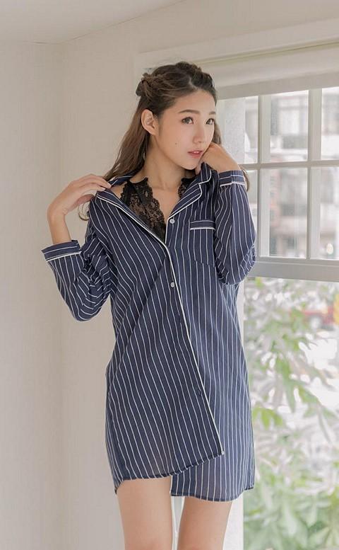 有條有理 直條紋男友襯衫連身睡衣 M-XL nalla - 藍色