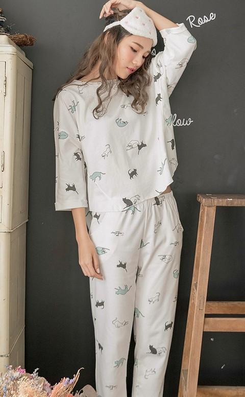 萌系貓主子 貼膚純棉成套造型睡衣 M-2XL nalla - 白色