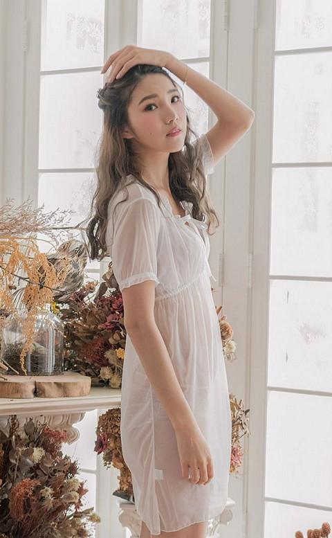 隱含美意 性感彈性薄紗連身睡衣 FREE nalla - 白色