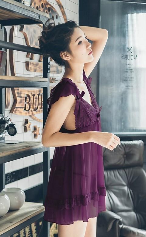暮夜輕吻 挖背深V蕾絲薄紗連身睡衣 FREE nalla - 紫色