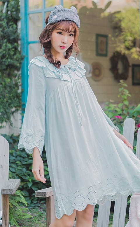 微風詩篇 甜美荷葉邊連身睡衣裙 FREE nalla - 藍色