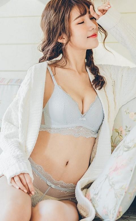 甜美拉娜 微性感無鋼圈成套內衣褲 S-XL nalla - 藍色