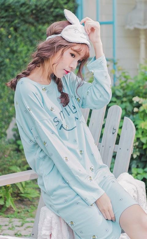 甜美心境 舒適棉質寬鬆連身睡衣 FREE nalla - 藍色