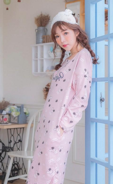 甜美心境 舒適棉質寬鬆連身睡衣 FREE nalla - 粉色