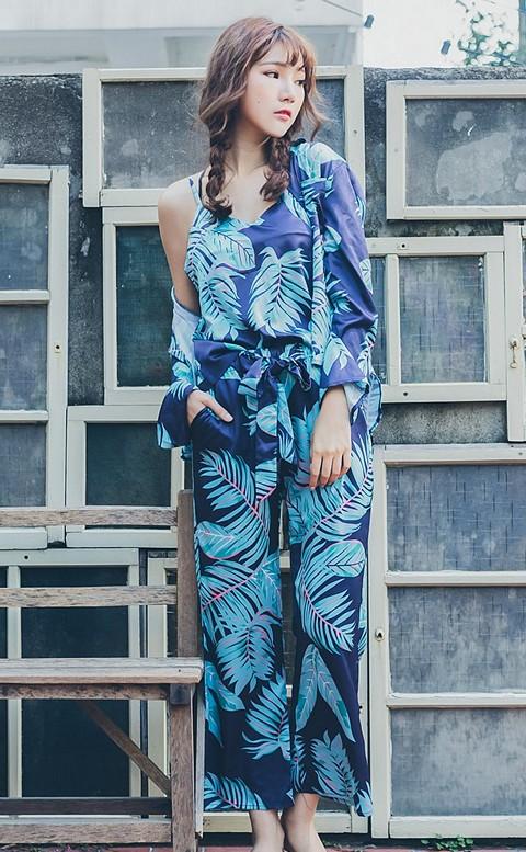 清新花脈 韓系緞面居家成套睡衣 FREE nalla - 藍色