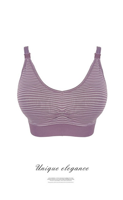 輕盈旋律 活潑條紋肩開式哺乳內衣 S-XL myBRA - 紫色