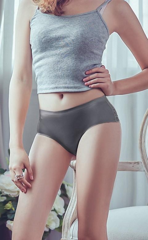 香榭蘿蔓 絲光蕾絲無痕包臀內褲 L-XL anSubRosa - 深灰