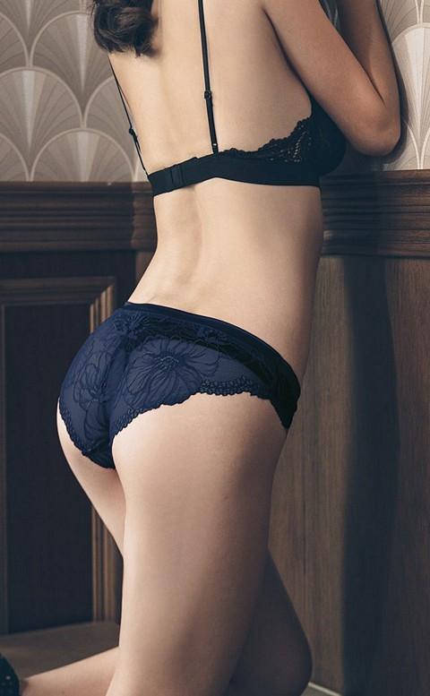 花邊教主 蕾絲美臀低腰內褲 S-L anSubRosa - 藍色