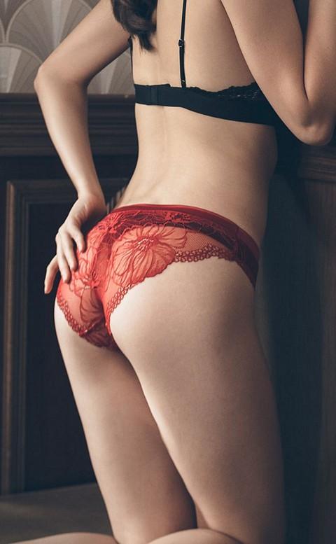 花邊教主 蕾絲美臀低腰內褲 S-L anSubRosa - 酒紅
