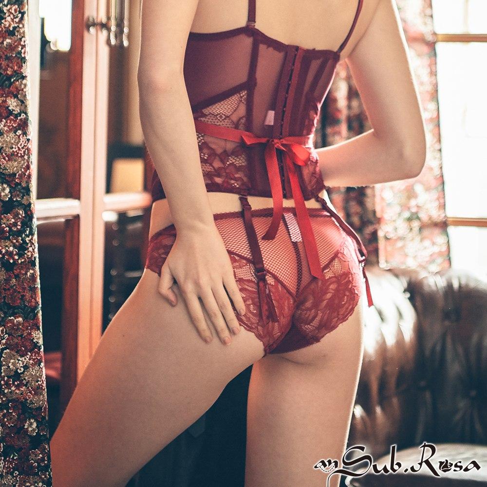 交織情綿 歐系蕾絲中腰內褲 S-XL anSubRosa,蕾絲內褲,無痕,透氣,包覆,