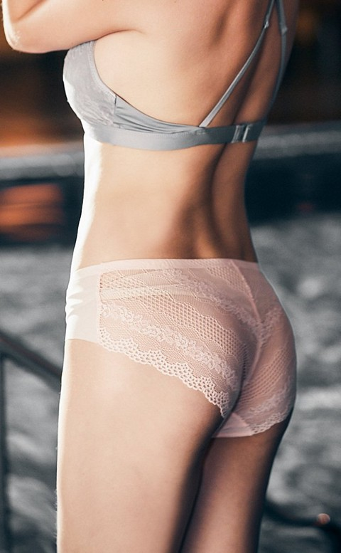 唯美月光 無痕蕾絲三角內褲 S-XL anSubRosa - 粉色