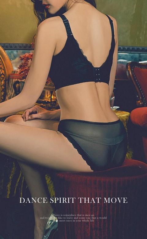 美尻呵護 蕾絲透氣低腰內褲 M-XL anSubRosa - 黑色