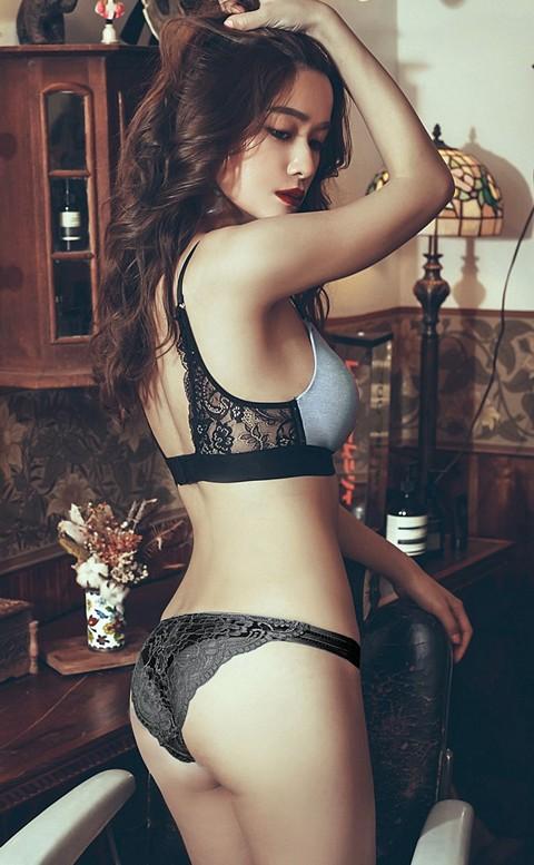 高調旋律  高衩蜜桃臀蕾絲內褲 S-XL anSubRosa - 黑色