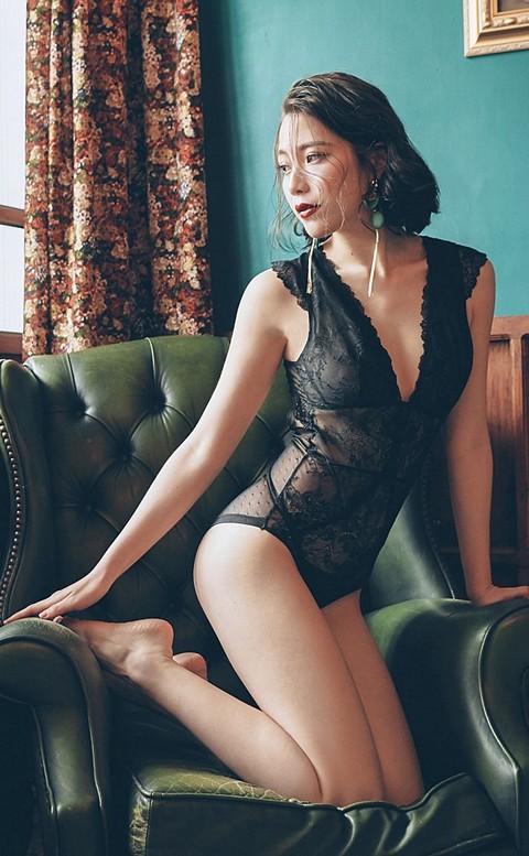 奼紅慢調 蕾絲美背 bodysuit 襯衣 S-L anSubRosa - 黑色