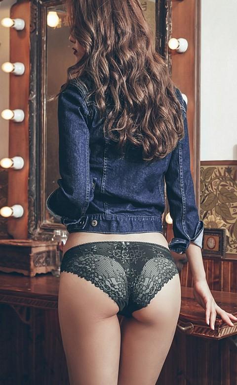 抒情藍調 細緻透膚蕾絲内褲 M-L anSubRosa - 黑色
