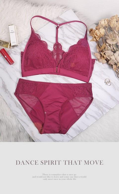 呢喃續章 前扣無鋼圈成套內衣褲 S-XL anSubRosa - 紫紅