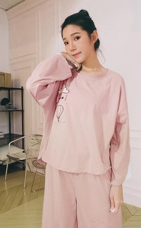 飄浮熱氣球 舒適棉質成套睡衣 L-XL nalla - 粉色