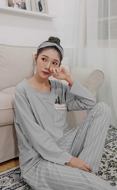 甜美仙人掌 舒適棉質成套睡衣 L-XL nalla - 灰色