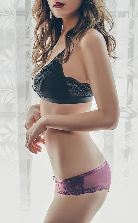 粉黛佳人 蕾絲蜜桃薄紗內褲 M-L anSubRosa - 紫色