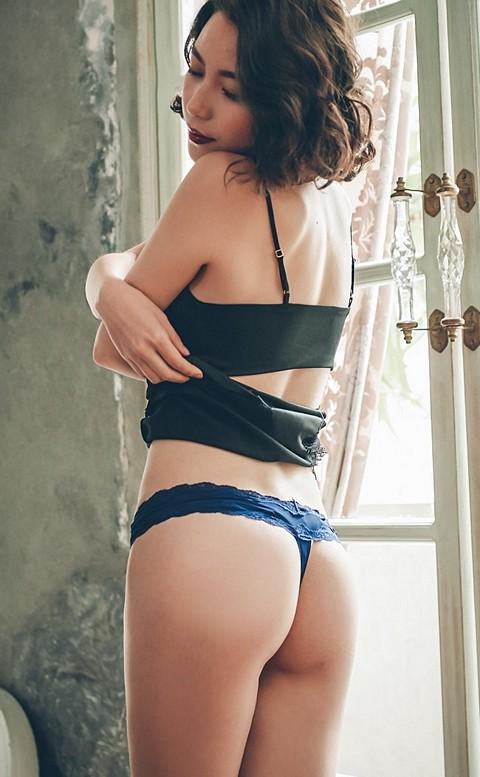 風靡巴賽 彈性性感蕾絲丁字褲 M-L anSubRosa - 藍色