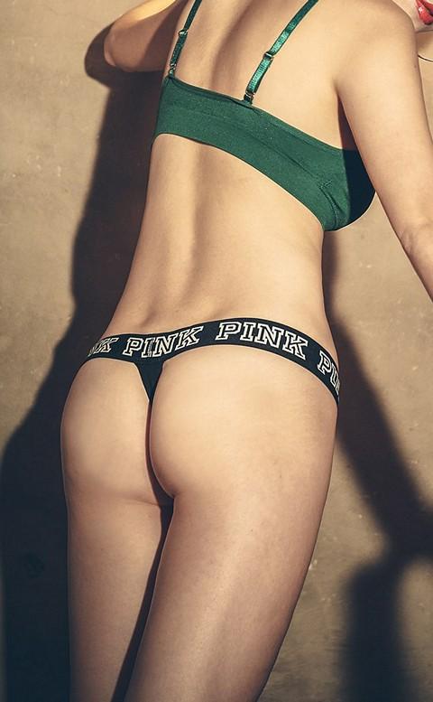 律動時尚 運動造型棉質丁字褲 M-L anSubRosa - 黑色