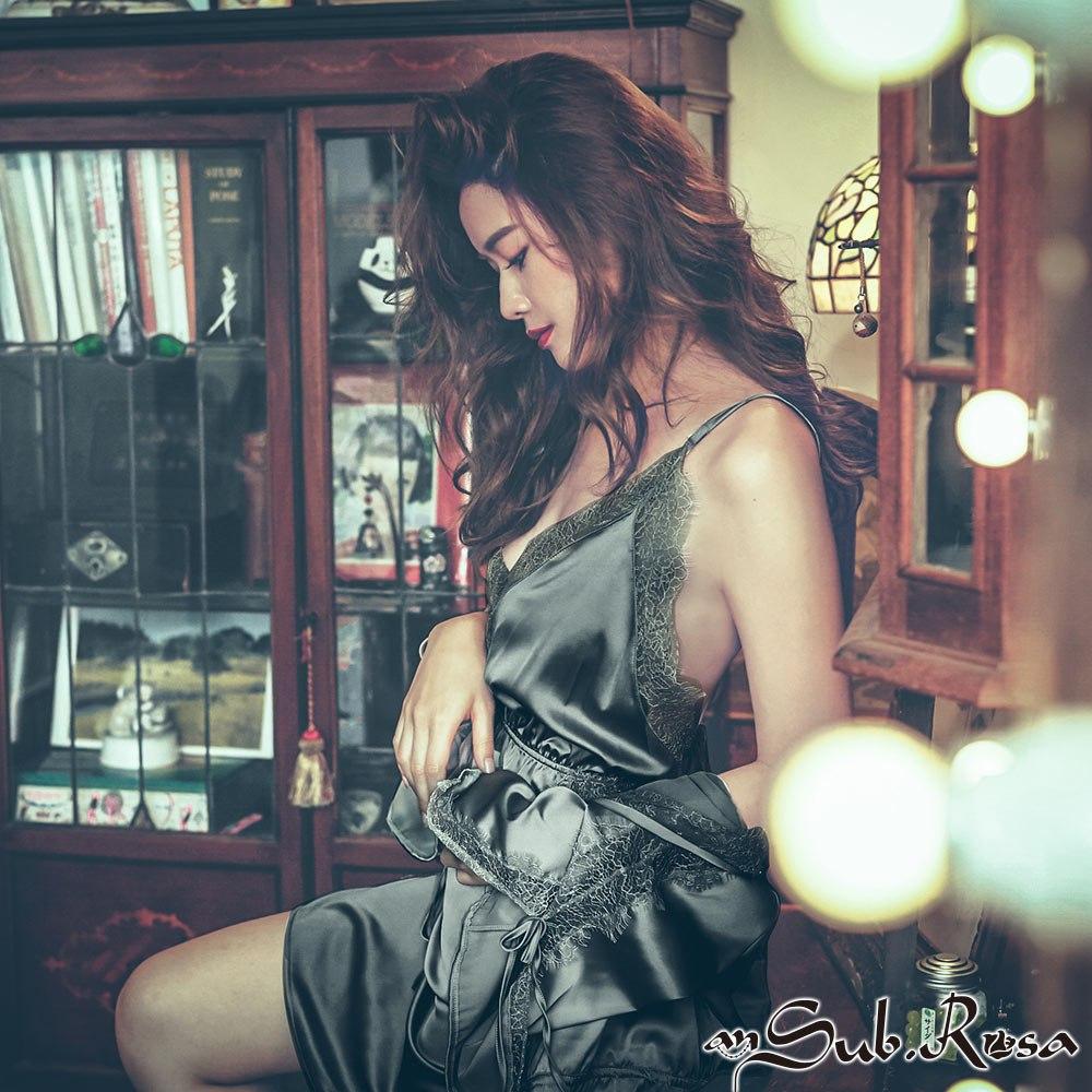 獨佔思念 緞面睫毛蕾絲連身睡衣 M-L anSubRosa,連身睡衣,睫毛蕾絲,性感睡衣,無鋼圈睡衣,柔滑緞面