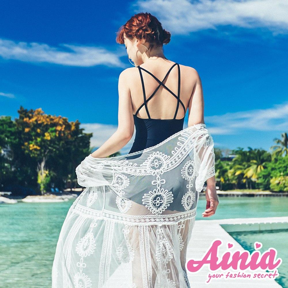漫波女神 純白花卉刺繡罩衫 FREE AINIA,泳衣,Ania,Alnla,泳衣罩衫,遮陽防曬