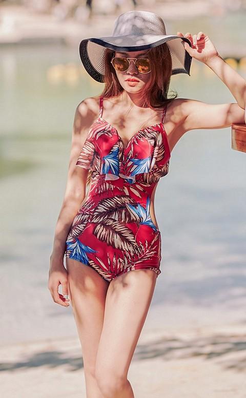 盛夏光年 挖腰美胸連身泳衣 M-2XL AINIA - 紅色