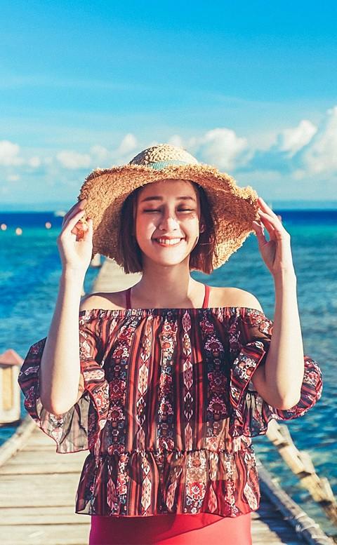 豔陽盛夏 綁帶荷葉邊三件式泳衣 M-XL AINIA - 紅色