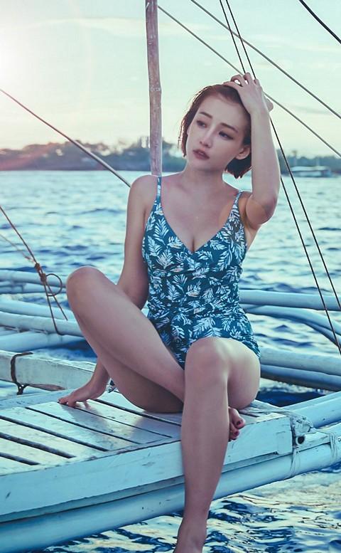 清澄熱帶 高挑顯瘦綁帶連身泳衣 M-XL AINIA - 綠色