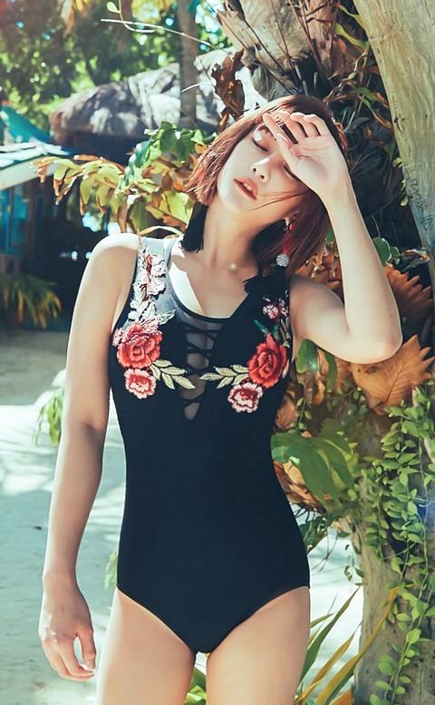 狂野玫瑰 性感深V綁帶連身泳衣 M-XL AINIA - 黑色