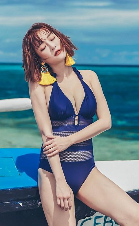 守護女神 鏤空美背連身式泳衣 M-XL AINIA - 藍色