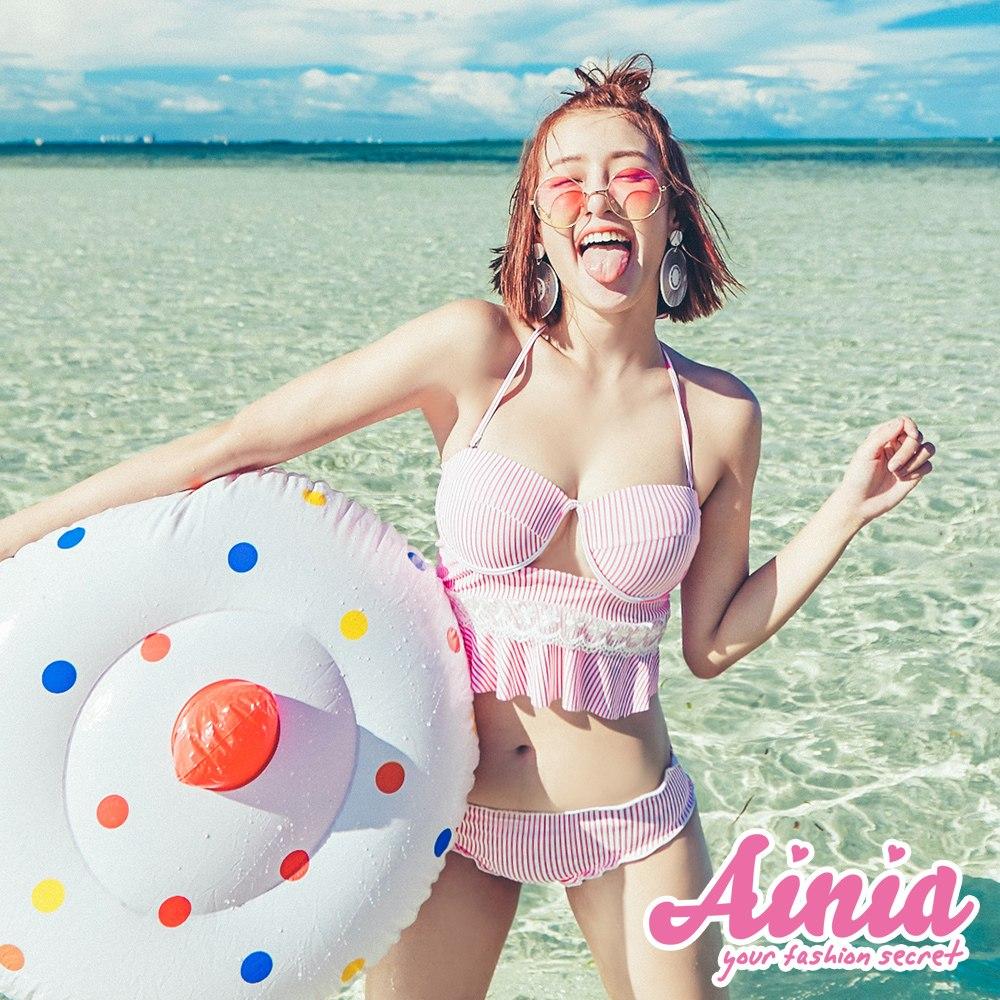 向陽晨花 綁帶美背條紋兩件式泳衣 S-XL AINIA,泳衣,Ania,Alnla,二件式泳衣,兩件式泳衣