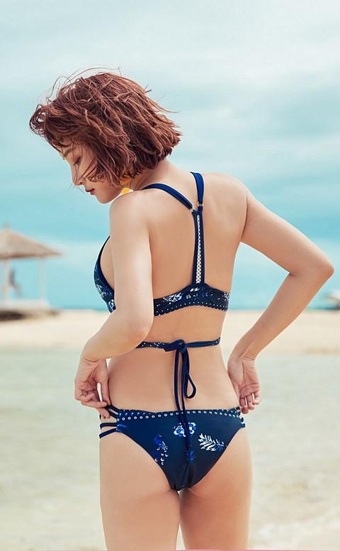 迷霧叢林 胸前交叉美背綁帶比基尼 S-XL AINIA - 藍色