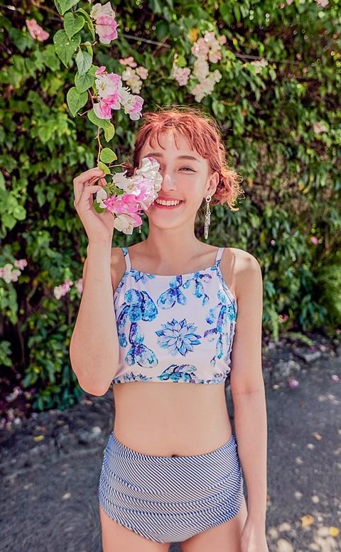 典雅花蕾 復古削肩兩件式泳衣 S-L AINIA - 粉色