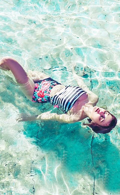 花漾伊人 平口高腰連身泳衣 S-L AINIA - 黑白條紋
