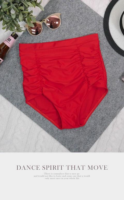 帷幕序曲 高腰抓皺三角泳褲 S-3XL AINIA - 紅色