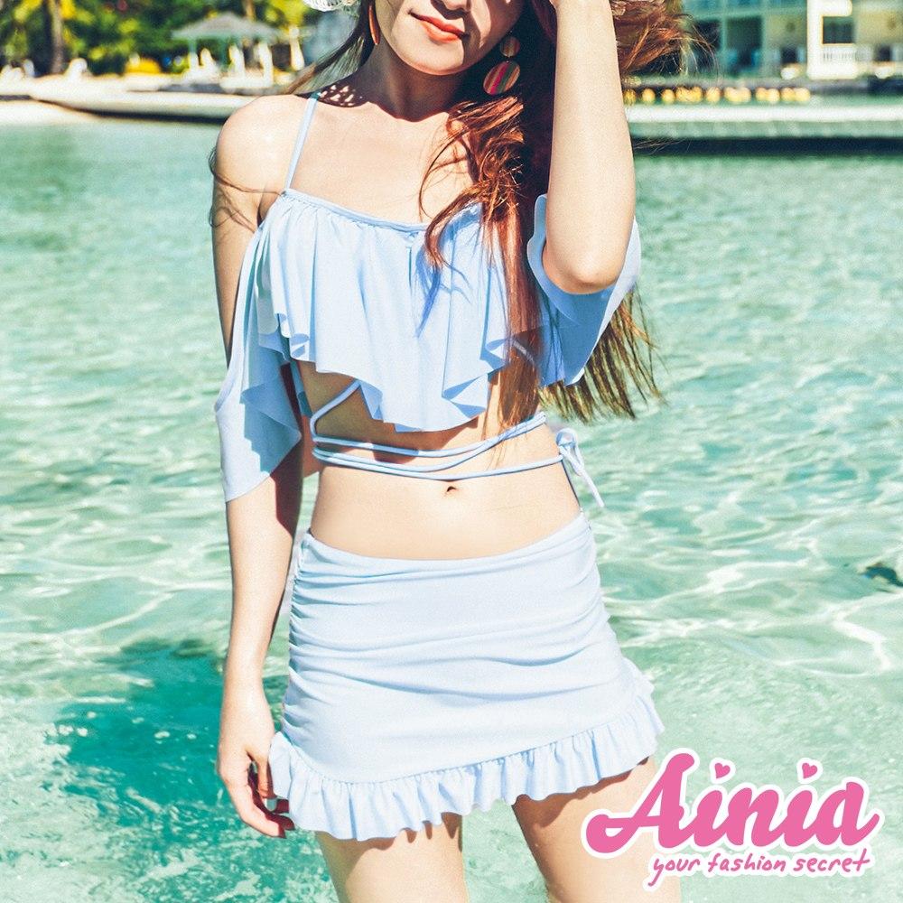 靈魂交織 荷葉線段兩件式泳衣 M-XL AINIA,泳衣,Ania,Alnla,二件式,兩件式