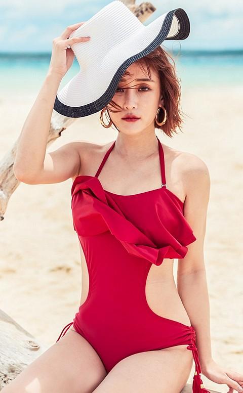 烈火紅唇 繞頸荷葉挖腰連身泳衣 M-XL AINIA - 紅色