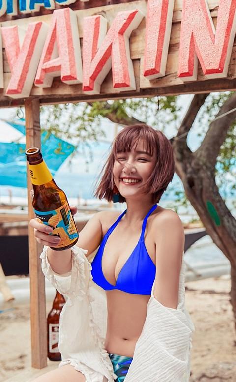 戀戀夏日 極致深V綁帶比基尼 S-XL AINIA - 藍色