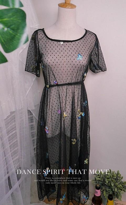 復刻情話 刺繡網紗洋裝罩衫 M-XL AINIA - 黑色