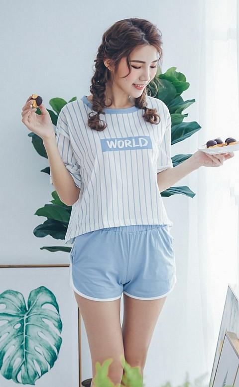 午後白日夢 休閒舒適純棉成套睡衣 M-2XL nalla - 藍色